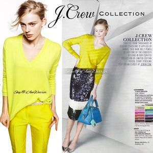 J.Crew Collection NWT neon citrus cashmere sweater